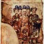 Родина князя Святослава Ярославича. Мініатюра з «Ізборника». 1073