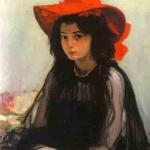 Картина «Дівчина в червоному капелюсі». 1902-1903. О. Мурашко